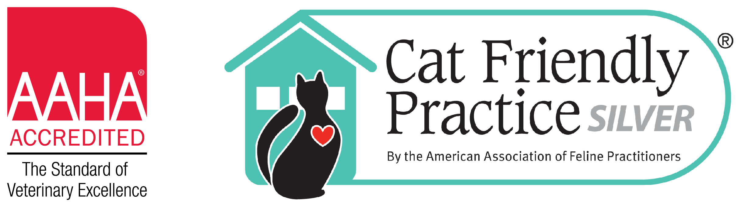AAHA-accredited and Cat Friendly Practice silver level logo