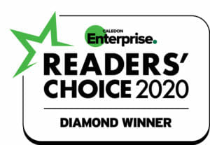 Caledon Enterprise Readers Choice 2020 Diamond Winner badge